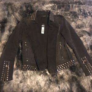 Max Jeans Black Jean Studded Jacket